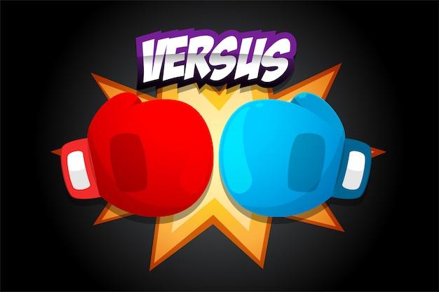 Rote und blaue boxhandschuhe auf dunklem hintergrund