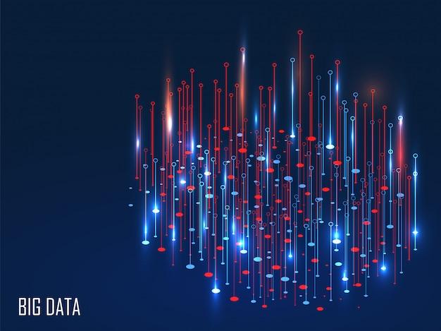 Rote und blaue glänzende magische lichter auf hintergrund für big data-konzept.