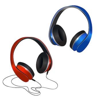 Rote und blaue kopfhörer