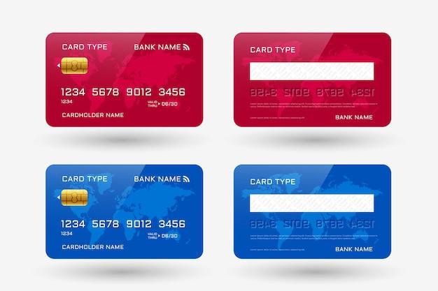 Rote und blaue kreditkartenschablone