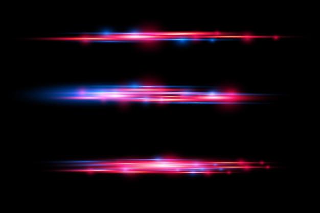 Rote und blaue laserstrahlen horizontale lichtstrahlen glühende glitzernde linienbewegung