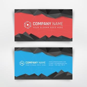 Rote und blaue visitenkarte mit abstraktem dreieck