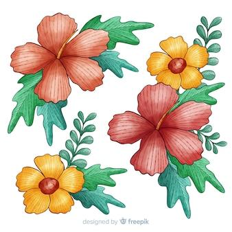 Rote und gelbe draufsichtblumen