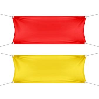Rote und gelbe leere leere horizontale rechteckige banner mit eckenseilen.
