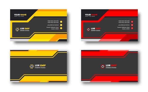 Rote und gelbe moderne kreative visitenkarten-designvorlage
