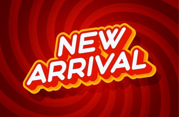 Rote und gelbe texteffektschablone der neuen ankunft mit artart 3d