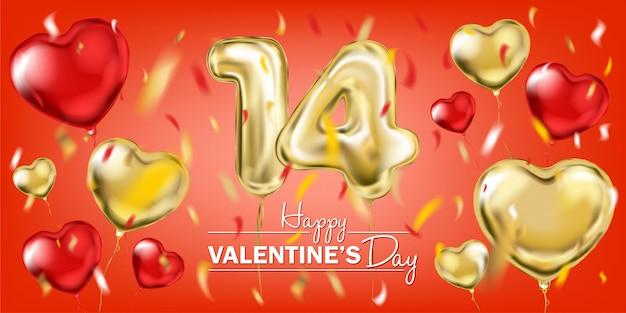 Rote und goldene folienballons für den 14. februar