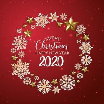 Rote und goldene grußkarte der frohen weihnachten und des guten rutsch ins neue jahr 2020