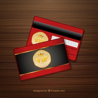 Rote und goldene karte von vip mitglied