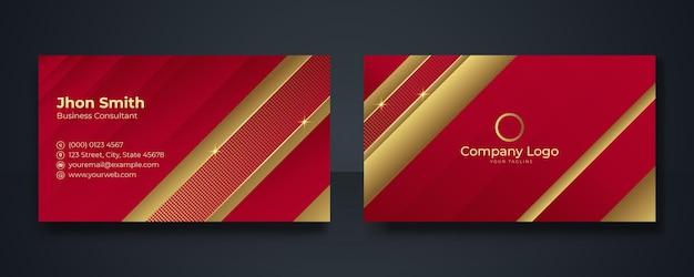 Rote und goldene moderne visitenkarten-designvorlage, saubere professionelle visitenkartenvorlage, visitenkarte, visitenkartenvorlage
