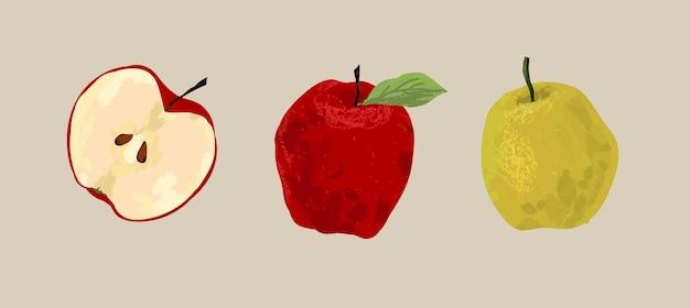 Rote und grüne äpfel, geschnittene früchte.