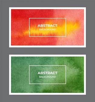 Rote und grüne aquarell-web-banner-hintergrundsammlung