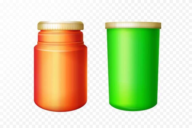 Rote und grüne medizinische flaschen auf transparentem hintergrund.