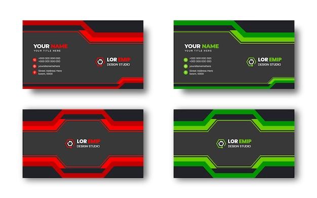 Rote und grüne moderne kreative visitenkarten-designvorlage