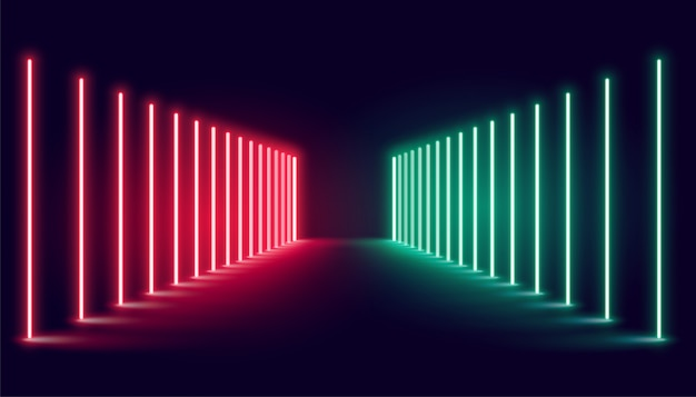Rote und grüne neonlichtbühne