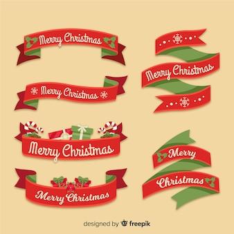 Rote und grüne weihnachtsbandsammlung
