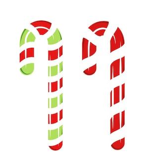 Rote und grüne weihnachtsbonbons isoliert auf weißem hintergrund