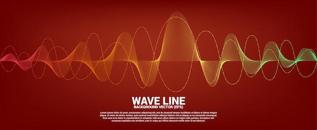 Rote und orange schallwellenlinie kurve auf rotem hintergrund. element für futuristischen vektor der thema technologie