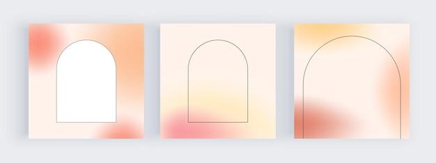 Rote und orange unschärfegradientenhintergründe für social-media-banner mit kreisförmigen geometrischen formen
