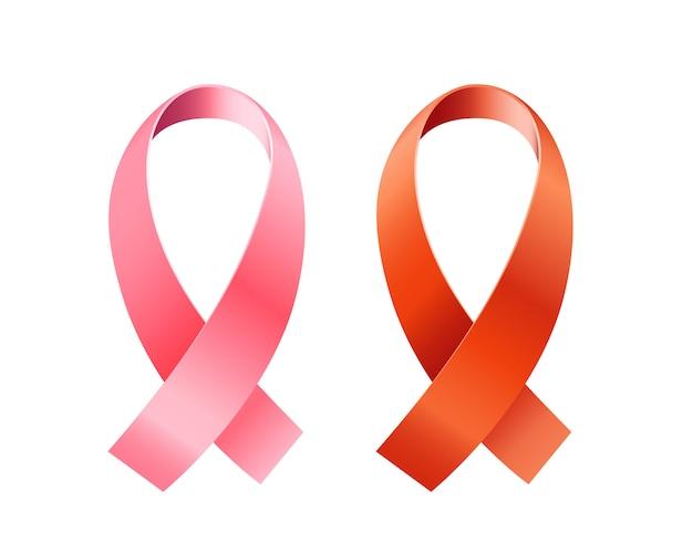 Rote und rosafarbene farbbänder eingestellt.