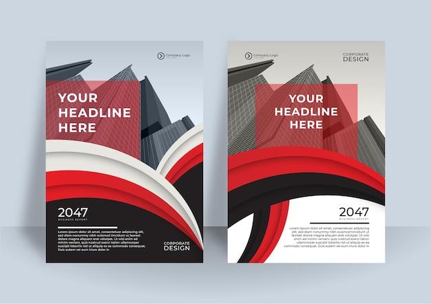 Rote und schwarze cover-business-buch-design-vorlage. modernes geschäftsberichtsdesign