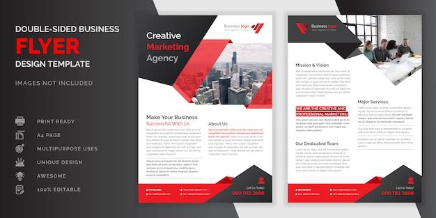 Rote und schwarze farbe abstrakte kreative moderne professionelle doppelseitige geschäftsflyer