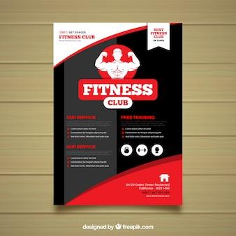 Rote und schwarze fitness-studio-cover-vorlage