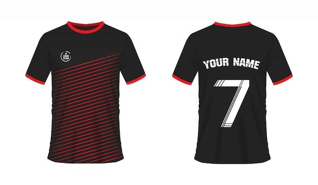 Rote und schwarze fußball- oder fußballschablone des t-shirts für teamclub