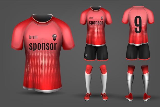 Rote und schwarze fußballuniform