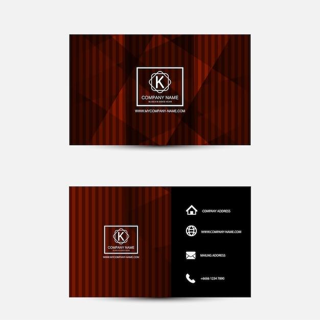Rote und schwarze visitenkarte-schablone. flaches design