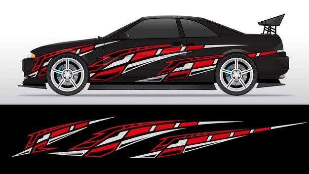 Rote und weiße decal racing vinyl striping