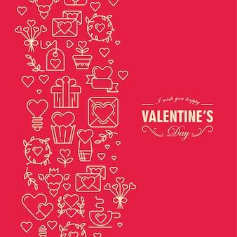 Rote und weiße farbige valentinstagkarte mit elementen und textillustration