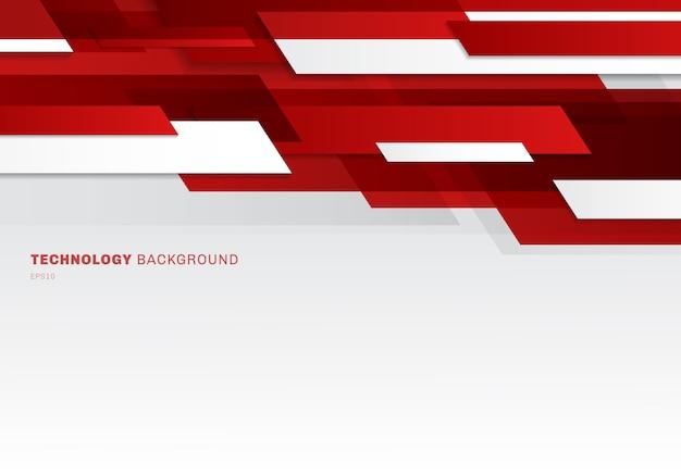 Rote und weiße glänzende geometrische formen des abstrakten titels
