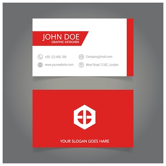 Rote und weiße grafik-designer-visitenkarte
