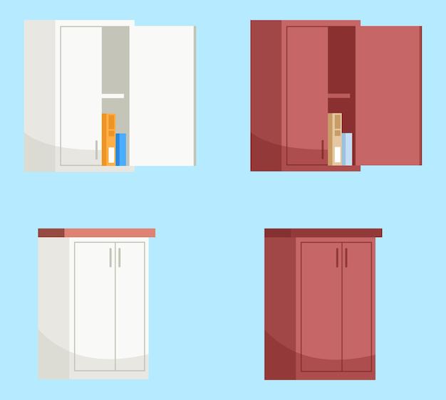 Rote und weiße küchenwandschränke halb rgb farbillustrationssatz. küchenmöbel. öffnen sie wandschrank mit kisten innerhalb der karikaturobjektsammlung auf blauem hintergrund