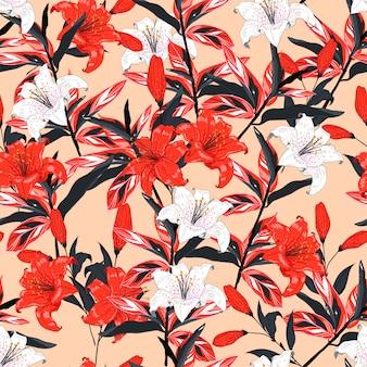 Rote und weiße lilie blüht nahtloses mustervektordesign