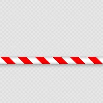 Rote und weiße linien des absperrbandes. warnbandmastzaun schützt vor kein eintritt