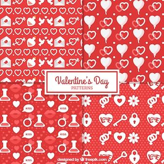 Rote und weiße muster für den valentinstag