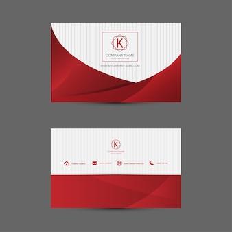 Rote und weisse visitenkarte-schablone. flaches design