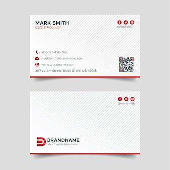 Rote und weiße visitenkarten-design-vorlage
