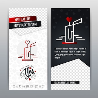 Rote Valentinstag-vertikale Fahne des glücklichen Valentinstags. Vektor-Illustration