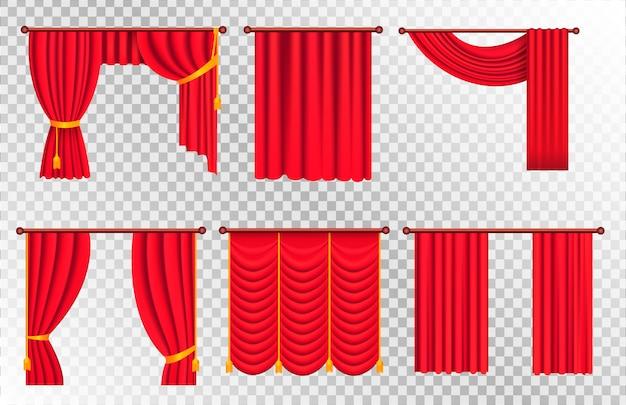 Rote vorhänge mit gold raffhalter und lambrequin vector