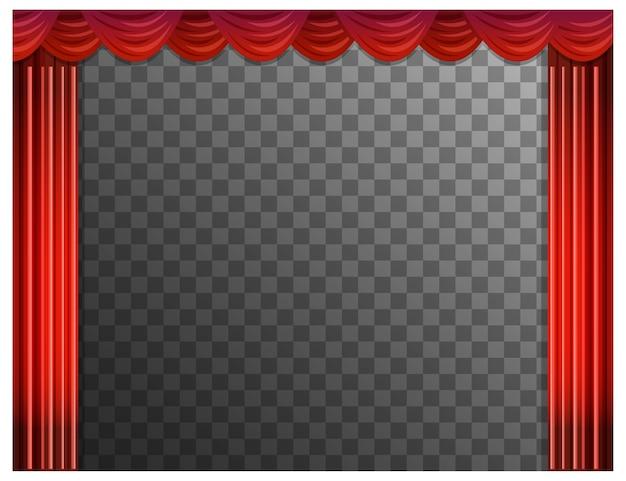 Rote vorhänge mit transparenten