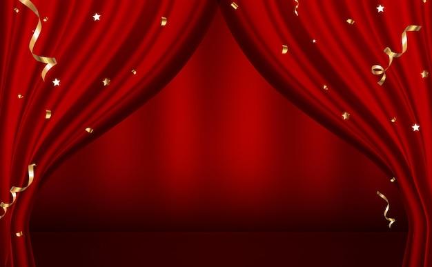 Rote vorhänge öffnen luxus
