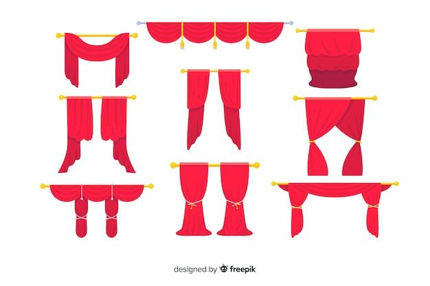 Rote vorhangsammlung des flachen designs