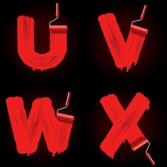 Rote walzenpinsel-alphabetschrift