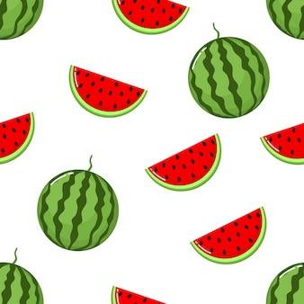 Rote wassermelone schneidet nahtloses muster.