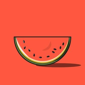 Rote wassermelonen-karikatur.