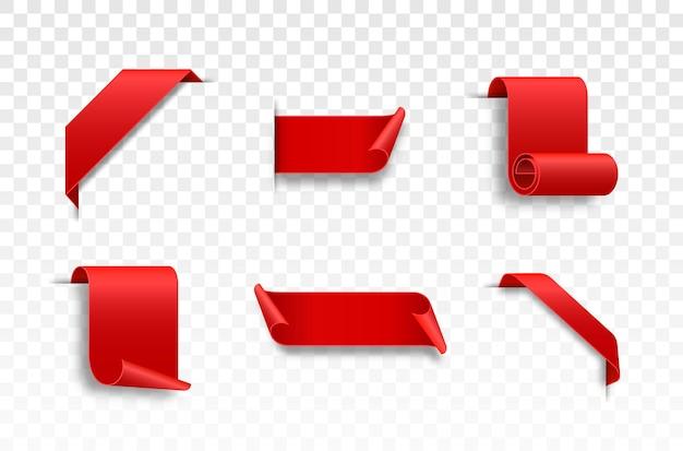 Rote webbänder set gekräuselte scrollbänder