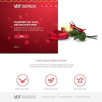 Rote websiteschablone mit valentinstagdesign
